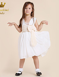 Girl White Chiffon Pleated Waist Embellished Tie Wedding Dress