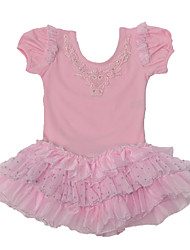 Ballet Dresses Children's Performance Cotton / Spandex Cascading Ruffle / Lace / Pattern/Print 1 Piece Pink