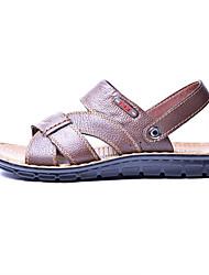 Men's Shoes Casual Leather Sandals Khaki