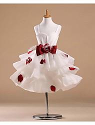 Flower Girl Dress Knee-length Satin/Tulle Princess Sleeveless Dress