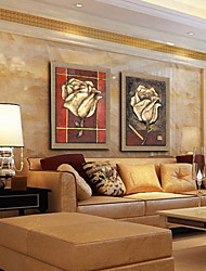 Oil Painting Modern Abstract Flower Rose Hand Painted Natural Linen with Stretched Framed - Set of 2