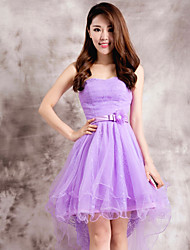 Homecoming Dress - Purple Ball Gown Strapless Tea-length Lace