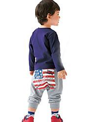 Boy's Fashion Leisure Numbers National Flag Halen Pants