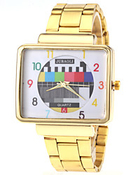 Unisex TV Pattern Square Gold Case Steel Band Quartz Wrist Watch