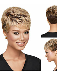 Pixie Cut Synthetic wigs Short Wavy hair Blonde wigs with bangs Full wigs for women