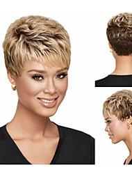 pixie perruques synthétiques coupés court ondulé cheveux perruques blondes avec une frange pleines perruques pour les femmes