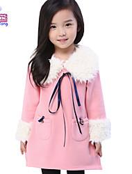 Vestido Chica deUn Color-Mezcla de Algodón-Invierno-Verde / Rosa