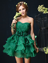 Cocktail Party Dress - Dark Green / White Petite Ball Gown Sweetheart Short/Mini Organza