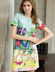 Women's Casual Micro-elastic Knee-length Dress (Organza/Satin/Silk)