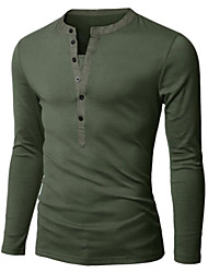 Men's V-Neck T-Shirts , Cotton Blend Long Sleeve Casual Hollow Out All Seasons HI MAN