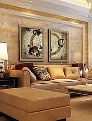 Oil Painting Modern Abstract Hand Painted Natural Linen with Stretched Framed - Set of 2