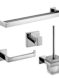 Polish Stainless Steel Bath Hardware Set with Double Towel Bar Toilet Paper Holder Toilet Brush Holder and Robe Hook