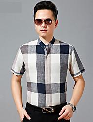 Men's Casual/Work/Formal/Sport Plaids & Checks Short Sleeve Regular Shirts (Cotton)8502