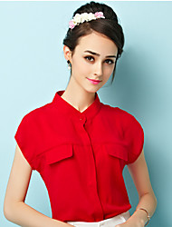Women's Solid Red Blouse , Stand Short Sleeve Pocket/Button