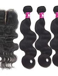 forawme brésiliens vierges corps de cheveux 3 pièces avec 1 pc faisceaux de cheveux fermeture de la base de dentelle de cheveux humains #