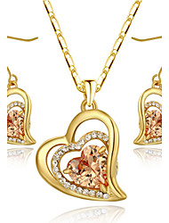 HKTC Classic 18k Yellow Gold Plated Champagne Cz Simulated Diamond Heart Earrings and Necklace Set