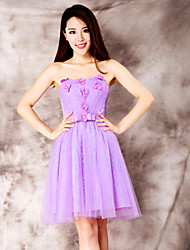 Dress - Purple Ball Gown Strapless Short/Mini Lace