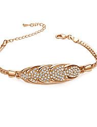 T&C Women's Chain Bracelets 18K Rose Gold Plated Woven Shape Simulated Diamond Bracelets Wedding Jewelry