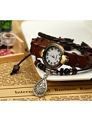 lureme® EuropeStyle ретро кожи ткать капли воды сплав часы браслет