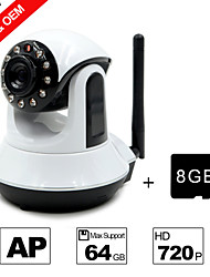 Besteye® 8GB TF Card and HD720P H.264 P2P WIFI Camera IP 1.0M Pixels PTZ IR Night Vision Wired or Wirless Camera WIFI
