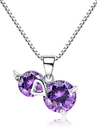 Jazlyn® Authentic Platinum Plated 925 Sterling Silver Purple Cucurbit Cubic Zirconia 1MM Box Chain Women's Necklace