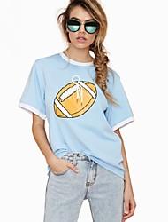 Camisetas ( Algodón Compuesto/Poliéster )- Cosecha/Casual Redondo Manga Corta para Mujer