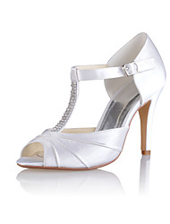 Feminino Wedding Shoes Saltos/Peep Toe Sandálias Casamento/Festas & Noite Branco/Bege