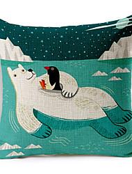 desenhos animados elegante urso polar modelada algodão / linho cover decorativo travesseiro