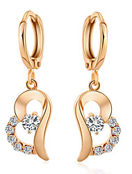 Maria Women's Korean-style Good Quality 18K Gold-plated Jewelry Inlaid Zircon Drop Earrings