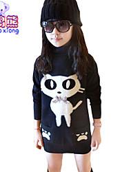Waboats Winter Girls Cat Printed Hood Velvet Top Dress