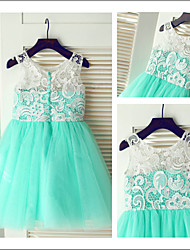 A-line Knee-length Flower Girl Dress - Chiffon Jewel with