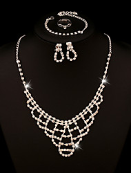 RHinestone Crystal Jewelry Set include Necklace & Bracelet & Earrings & Adjustable Rings for Wedding Party
