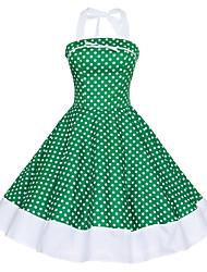 Hasta la Rodilla - Vestido - Vintage/Sexy/Casual/Con Estampado/Fiesta/Tallas Grandes - Algodón