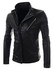 Men's Pure Color Cultivate Short Leather Coat PU