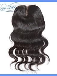 beste Qualität 6a neuer Stern peruanisches remy reine Haarkörperwelle oberen Spitzeschliessen 4 * 4 Mittelteil