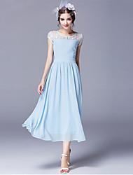 Women's Solid/Lace Dress , Vintage/Maxi Round Neck Short Sleeve Button/Lace/Mesh