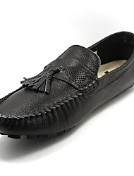 Men's Shoes Casual Leather Loafers Black/White