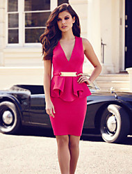 Hot selling plus size women clothing high quality and low price short dress V-neck sleeveless peplum dress
