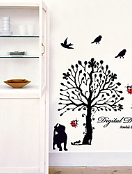 stickers muraux Stickers muraux, bande dessinée chat noir arbre pvc stickers muraux