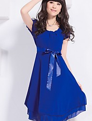 Women's Beach/Casual/Party/Work Micro-elastic Short Sleeve Midi Dress (Chiffon)