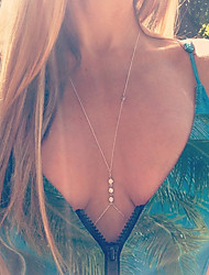 Women's Fashion Sexy Summer Crystal Rhinestone Crossover Body Chain Necklace