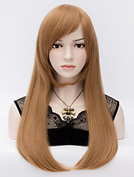 Europe And The United States Wind  Brown Inclined Bang Adduction Long Straight Hair Wig