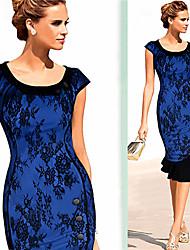 Robes ( Coton/Polyester ) Informel/Soirée/Travail Rond à Manches courtes pour Femme