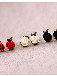 Women's Rose Flower Resin Stud Earrings