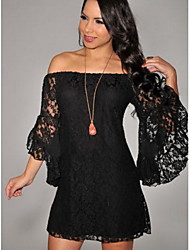 Women's Sexy/Party Off-the-shoulder ¾ Sleeve Dresses (Lace)
