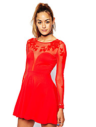 Women's Sexy/Bodycon/Lace/Cute/Party Round Long Sleeve Dresses (Polyester)