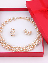 Classic Women Costume Wedding Gold Plated Imitation Pearl Jewelry Sets