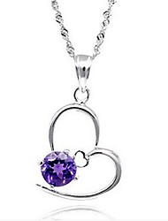 volcan naturel violet pendentif en cristal de sp0520a féminine 925 collier en forme de coeur