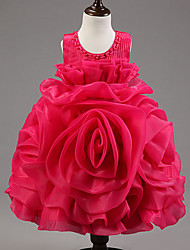 Ball Gown Knee-length Flower Girl Dress - Organza / Satin / Tulle / Polyester Sleeveless
