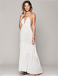 Women's Party/Cocktail Sexy Swing Dress,Solid Strap / Halter / Deep V Maxi Sleeveless White Cotton Summer